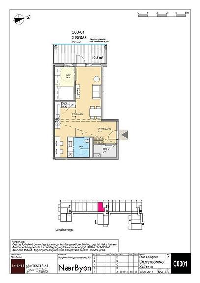 Plantegning som viser leilighet C 03-01
