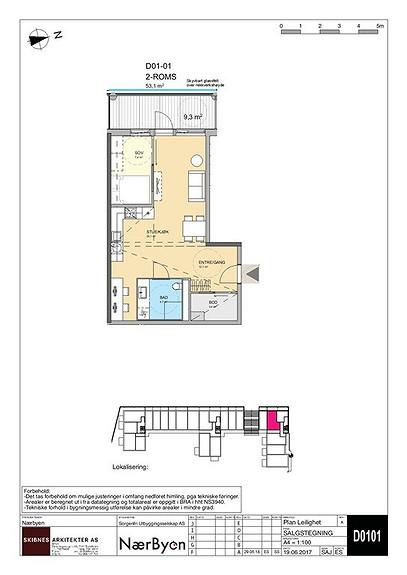 Plantegning som viser leilighet D 01-01