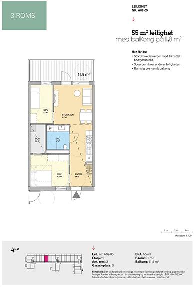 Plantegning som viser leilighet A 02-05