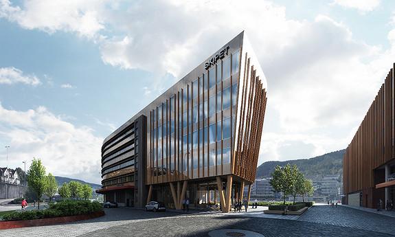 Bergens første og største næringsbygg i massivtre.