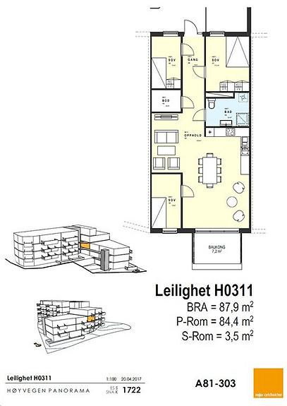 Plantegning som viser leilighet 11 - 3. ETG.