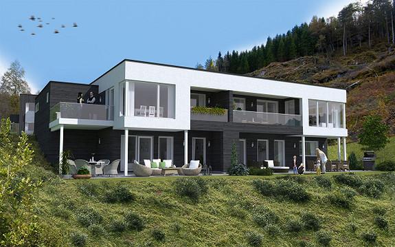 Prosjekterte familievennlege bustader med utsikt, store terassar og høg standard