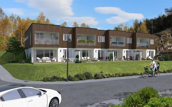Moderne rekkjehus og leilegheiter beliggande vestvendt med utsikt og gode soltilhøve