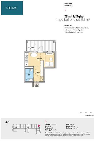 Plantegning som viser leilighet D 02-02