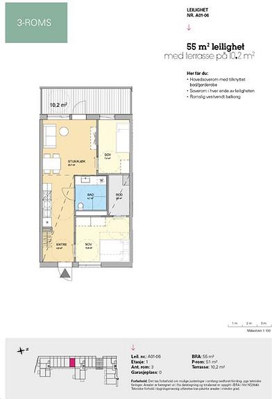 Plantegning som viser leilighet A 01-06