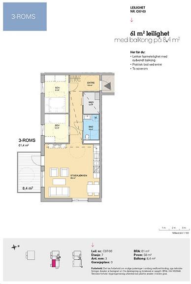 Plantegning som viser leilighet C 07-03