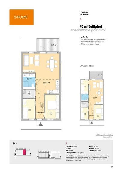 Plantegning som viser leilighet E02 - 04