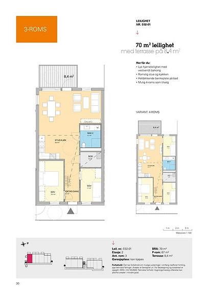 Plantegning som viser leilighet E02 - 01