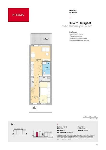Plantegning som viser leilighet F02 - 02