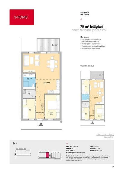 Plantegning som viser leilighet F03 - 04