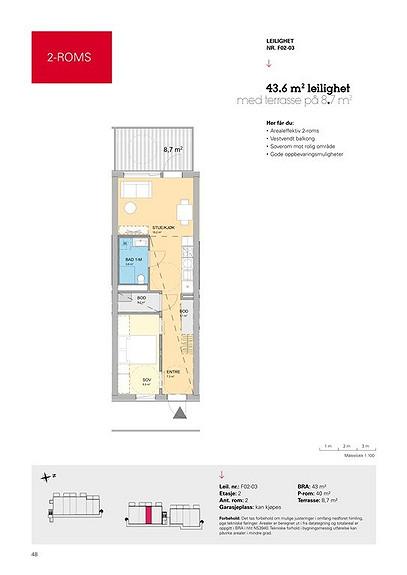Plantegning som viser leilighet F02 - 03