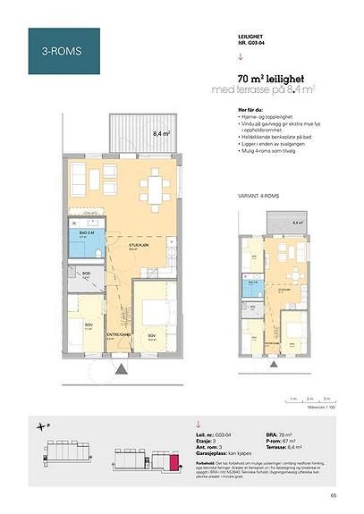 Plantegning som viser leilighet G03 - 04