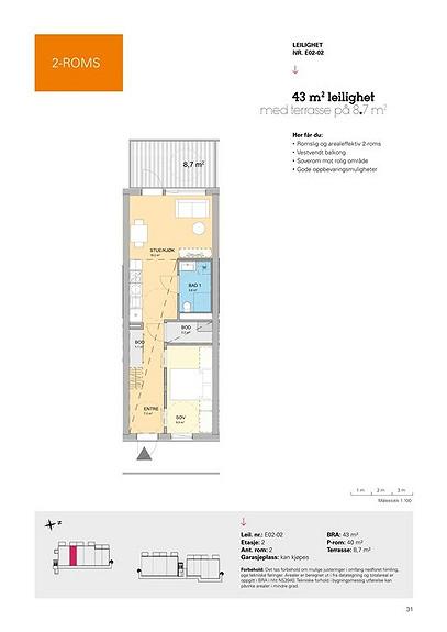 Plantegning som viser leilighet E02 - 02
