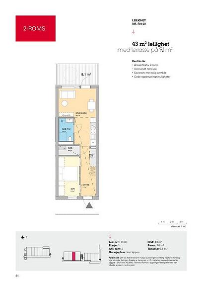 Plantegning som viser leilighet F01 - 03