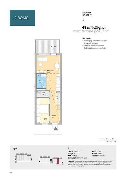 Plantegning som viser leilighet G02 - 03