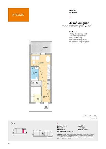 Plantegning som viser leilighet E03 - 05