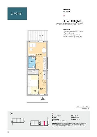 Plantegning som viser leilighet G01 - 03