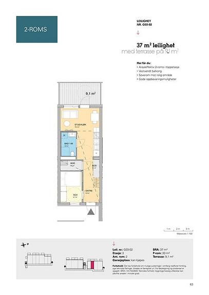 Plantegning som viser leilighet G03 - 02