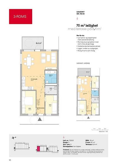 Plantegning som viser leilighet F03 - 01