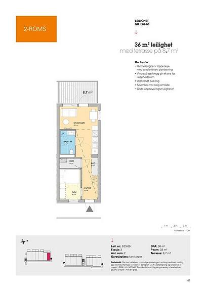 Plantegning som viser leilighet E03 - 06