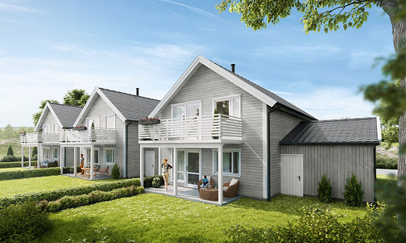 3 prosjekterte eneboliger i kjede med husbankfinansiering. 2 solgt!