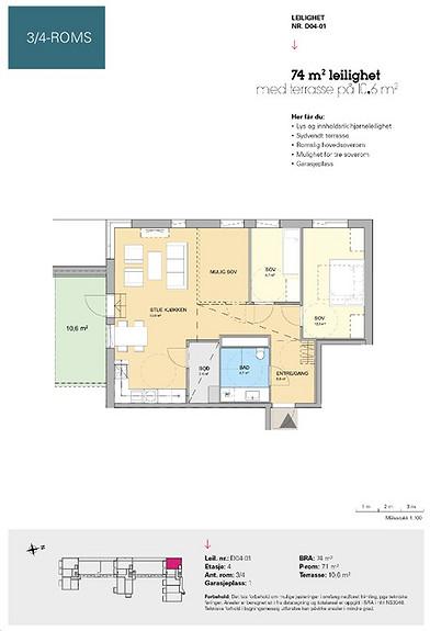 Plantegning som viser leilighet D 04-01