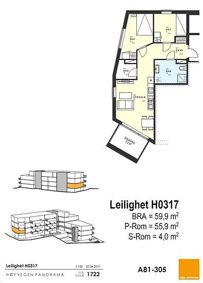 Plantegning som viser leilighet 17 - 3. ETG.