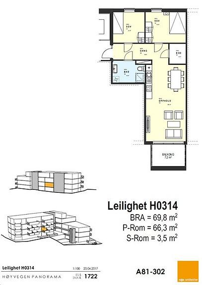 Plantegning som viser leilighet 14 - 3. ETG.