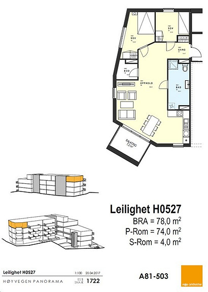 Plantegning som viser leilighet 27 - 5. ETG.