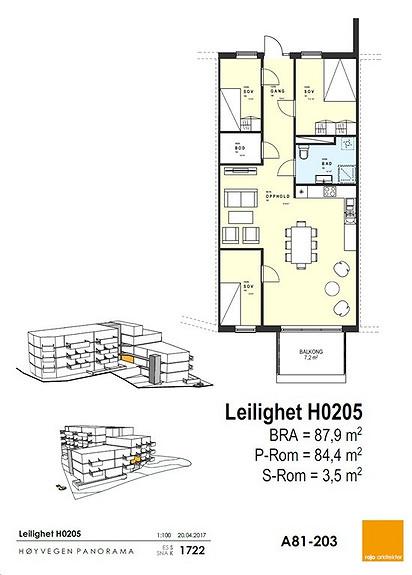 Plantegning som viser leilighet 05 - 2. ETG.