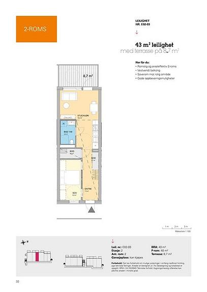 Plantegning som viser leilighet E02 - 03