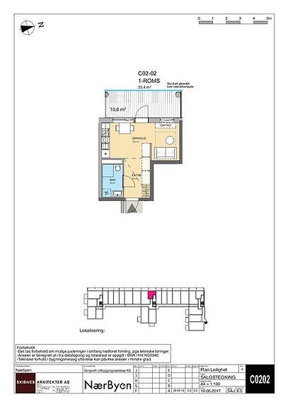 Plantegning som viser leilighet C 02-02