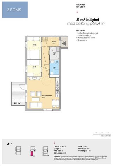 Plantegning som viser leilighet C 06-03