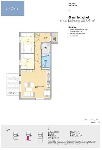 Plantegning som viser leilighet C 05-03