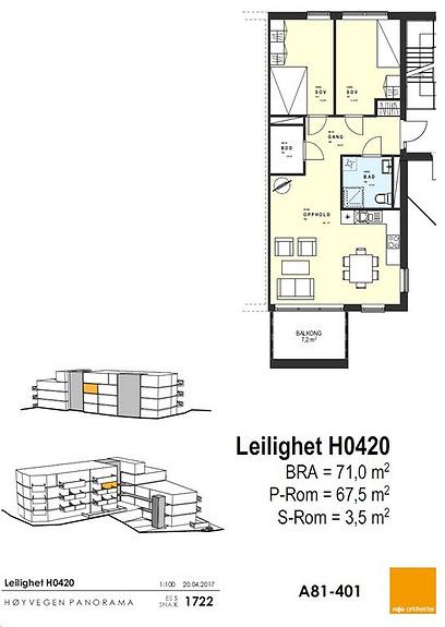 Plantegning som viser leilighet 20 - 4. ETG.