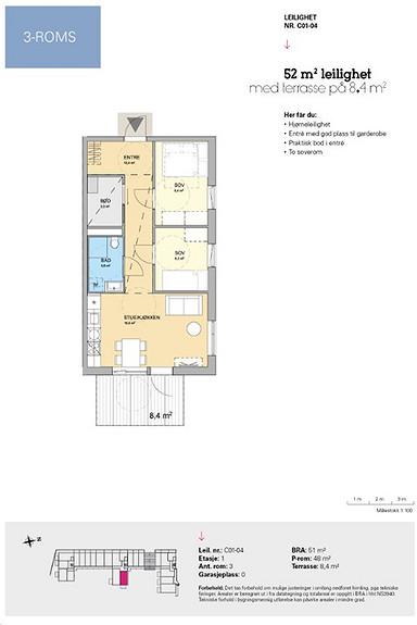 Plantegning som viser leilighet C 01-04