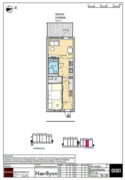 Plantegning som viser leilighet G03 - 03