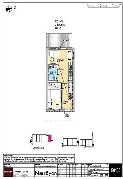 Plantegning som viser leilighet E01 - 06