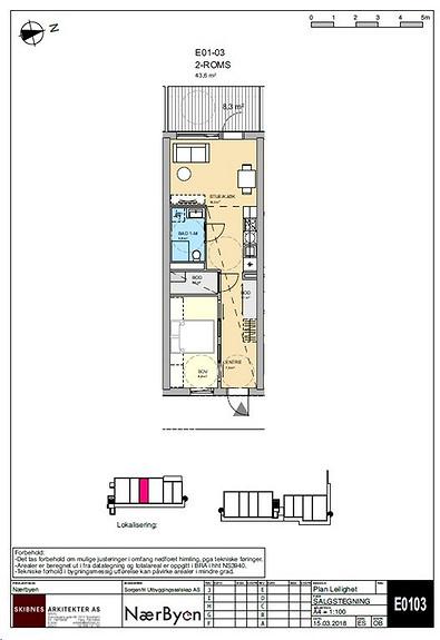 Plantegning som viser leilighet E01 - 03