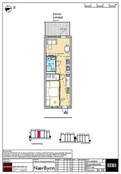 Plantegning som viser leilighet E03 - 03