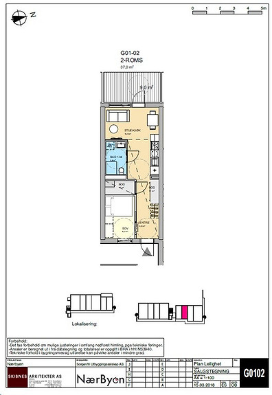 Plantegning som viser leilighet G01 - 02