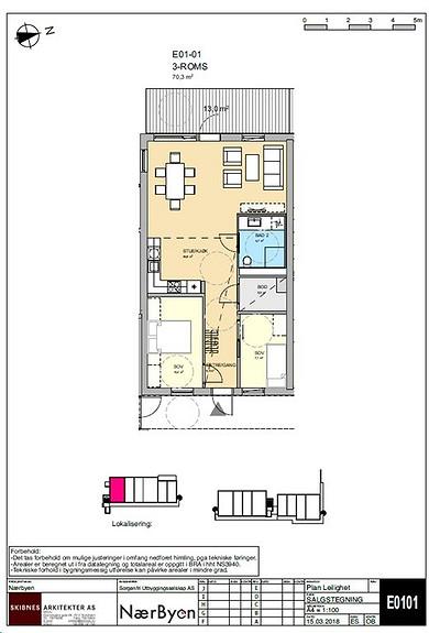 Plantegning som viser leilighet E01 - 01