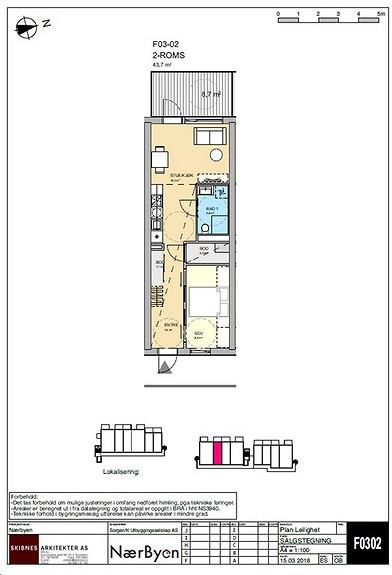 Plantegning som viser leilighet F03 - 02