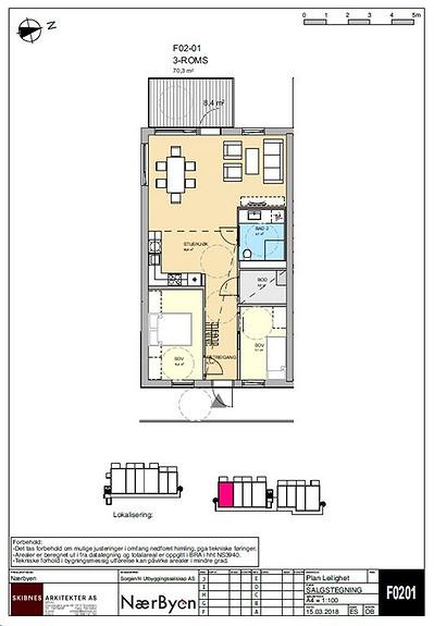 Plantegning som viser leilighet F02 - 01