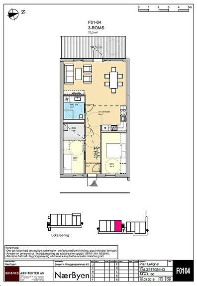 Plantegning som viser leilighet F01 - 04