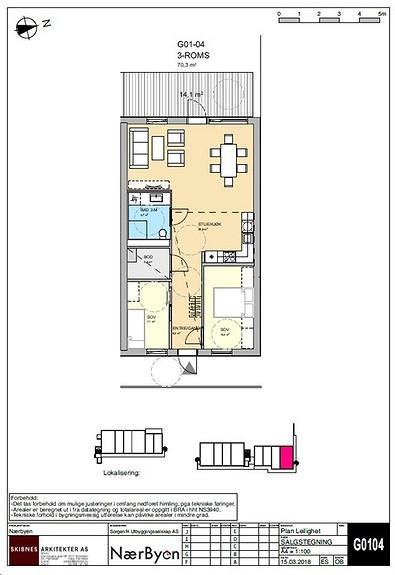 Plantegning som viser leilighet G01 - 04