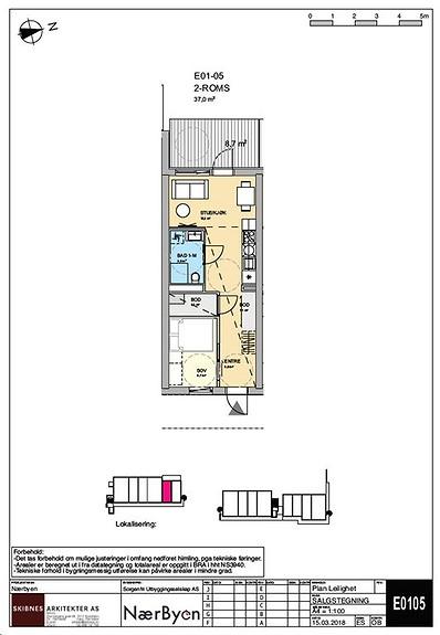 Plantegning som viser leilighet E01 - 05