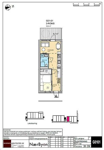 Plantegning som viser leilighet G01 - 01