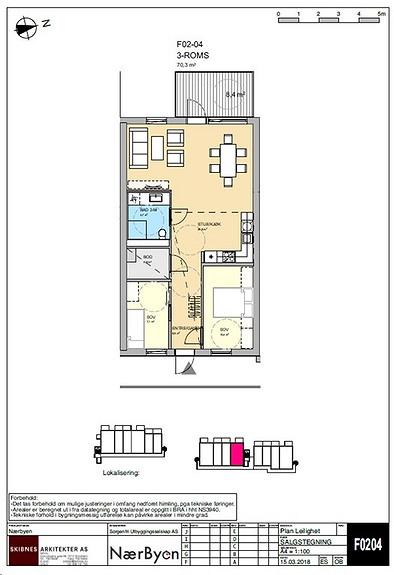 Plantegning som viser leilighet F02 - 04