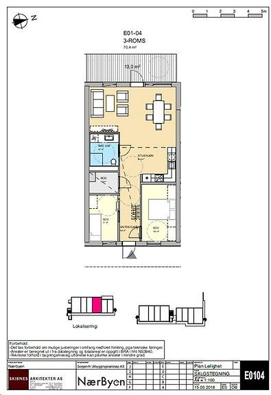Plantegning som viser leilighet E01 - 04